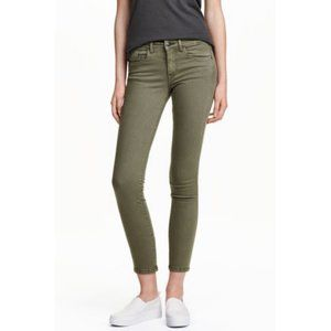 H&M Army Green Mid Rise Skinny Jeans